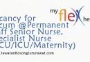 Vacancy for Staff Senior Nurse, Specialist Nurse CCU-ICU-Maternity